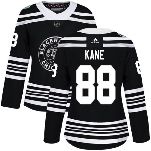 Adidas Blackhawks #88 Patrick Kane Black Authentic 2019 Winter Classic Women's Stitched NHL Jersey
