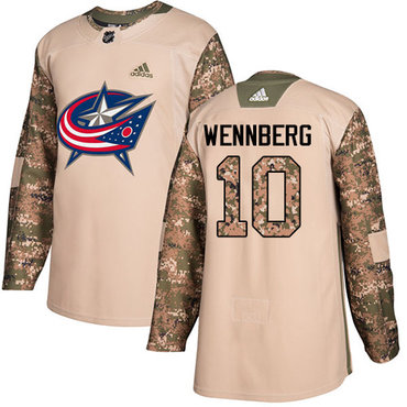 Adidas Blue Jackets #10 Alexander Wennberg Camo Authentic 2017 Veterans Day Stitched Youth NHL Jersey