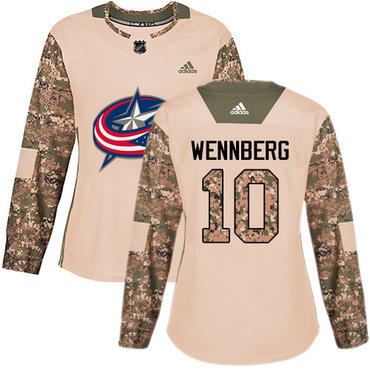 Adidas Blue Jackets #10 Alexander Wennberg Camo Authentic 2017 Veterans Day Women's Stitched NHL Jersey