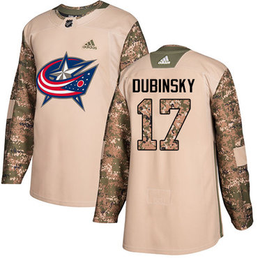 Adidas Blue Jackets #17 Brandon Dubinsky Camo Authentic 2017 Veterans Day Stitched Youth NHL Jersey