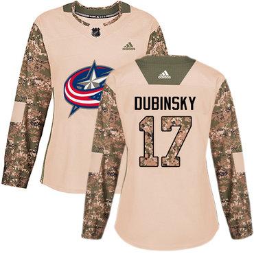 Adidas Blue Jackets #17 Brandon Dubinsky Camo Authentic 2017 Veterans Day Women's Stitched NHL Jersey