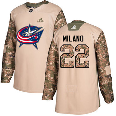 Adidas Blue Jackets #22 Sonny Milano Camo Authentic 2017 Veterans Day Stitched Youth NHL Jersey