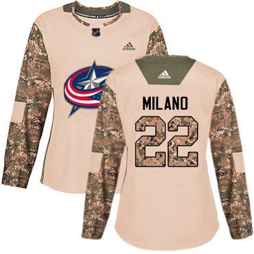 Adidas Blue Jackets #22 Sonny Milano Camo Authentic 2017 Veterans Day Women's Stitched NHL Jersey