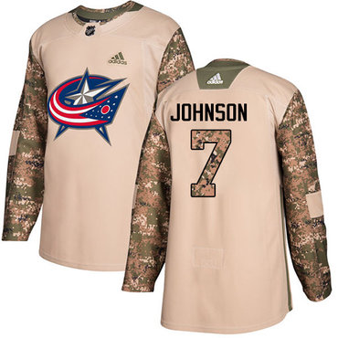 Adidas Blue Jackets #7 Jack Johnson Camo Authentic 2017 Veterans Day Stitched Youth NHL Jersey