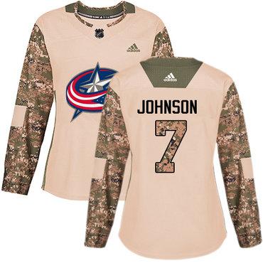 Adidas Blue Jackets #7 Jack Johnson Camo Authentic 2017 Veterans Day Women's Stitched NHL Jersey
