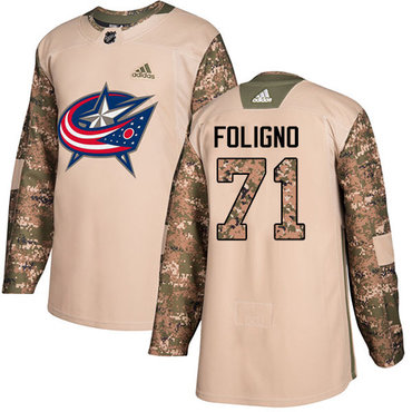 Adidas Blue Jackets #71 Nick Foligno Camo Authentic 2017 Veterans Day Stitched Youth NHL Jersey