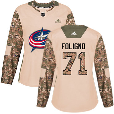 Adidas Blue Jackets #71 Nick Foligno Camo Authentic 2017 Veterans Day Women's Stitched NHL Jersey