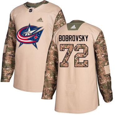 Adidas Blue Jackets #72 Sergei Bobrovsky Camo Authentic 2017 Veterans Day Stitched Youth NHL Jersey