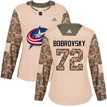 Adidas Blue Jackets #72 Sergei Bobrovsky Camo Authentic 2017 Veterans Day Women's Stitched NHL Jersey