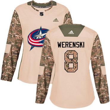 Adidas Blue Jackets #8 Zach Werenski Camo Authentic 2017 Veterans Day Women's Stitched NHL Jersey
