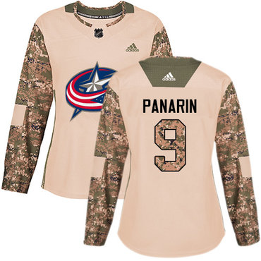 Adidas Blue Jackets #9 Artemi Panarin Camo Authentic 2017 Veterans Day Women's Stitched NHL Jersey