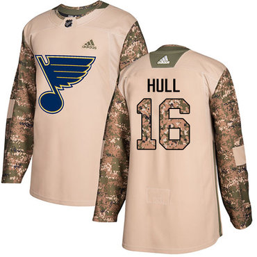 Adidas Blues #16 Brett Hull Camo Authentic 2017 Veterans Day Stitched Youth NHL Jersey