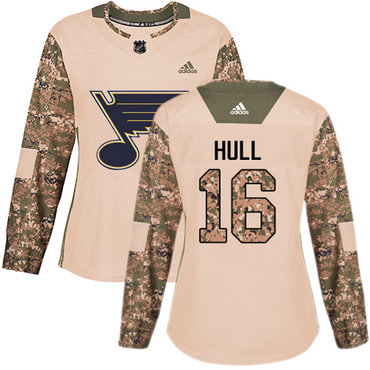 Adidas Blues #16 Brett Hull Camo Authentic 2017 Veterans Day Women's Stitched NHL Jersey