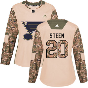 Adidas Blues #20 Alexander Steen Camo Authentic 2017 Veterans Day Women's Stitched NHL Jersey