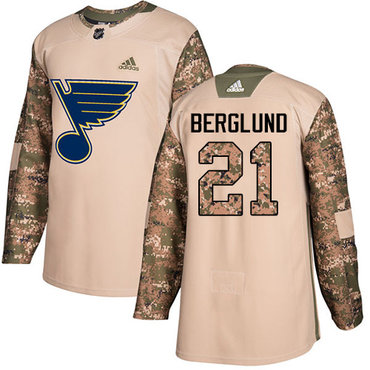 Adidas Blues #21 Patrik Berglund Camo Authentic 2017 Veterans Day Stitched Youth NHL Jersey