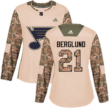 Adidas Blues #21 Patrik Berglund Camo Authentic 2017 Veterans Day Women's Stitched NHL Jersey