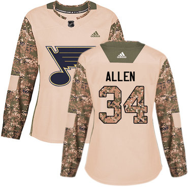 Adidas Blues #34 Jake Allen Camo Authentic 2017 Veterans Day Women's Stitched NHL Jersey
