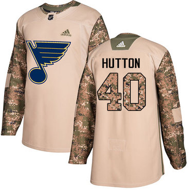 Adidas Blues #40 Carter Hutton Camo Authentic 2017 Veterans Day Stitched Youth NHL Jersey