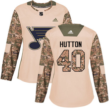 Adidas Blues #40 Carter Hutton Camo Authentic 2017 Veterans Day Women's Stitched NHL Jersey