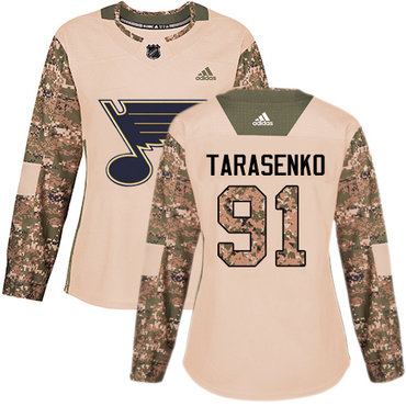 Adidas Blues #91 Vladimir Tarasenko Camo Authentic 2017 Veterans Day Women's Stitched NHL Jersey