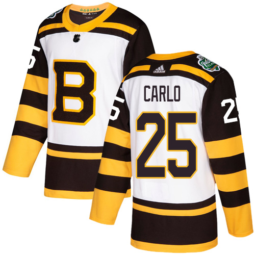 Adidas Bruins #25 Brandon Carlo White Authentic 2019 Winter Classic Stitched NHL Jersey