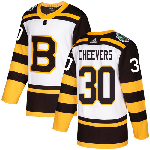 Adidas Bruins #30 Gerry Cheevers White Authentic 2019 Winter Classic Stitched NHL Jersey