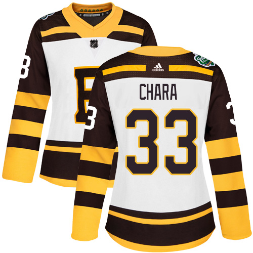 Adidas Bruins #33 Zdeno Chara White Authentic 2019 Winter Classic Women's Stitched NHL Jersey
