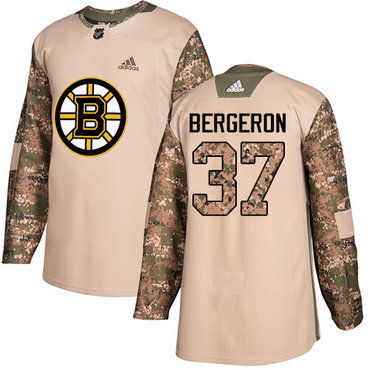 Adidas Bruins #37 Patrice Bergeron Camo Authentic 2017 Veterans Day Youth Stitched NHL Jersey