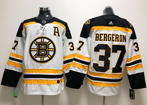 Adidas Bruins #37 Patrice Bergeron White Road Authentic Stitched NHL Jersey