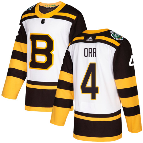 Adidas Bruins #4 Bobby Orr White Authentic 2019 Winter Classic Stitched NHL Jersey