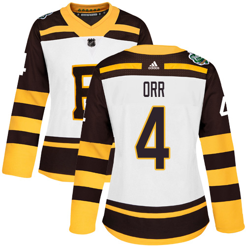 Adidas Bruins #4 Bobby Orr White Authentic 2019 Winter Classic Women's Stitched NHL Jersey