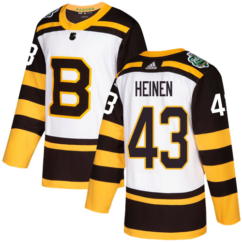 Adidas Bruins #43 Danton Heinen White Authentic 2019 Winter Classic Stitched NHL Jersey