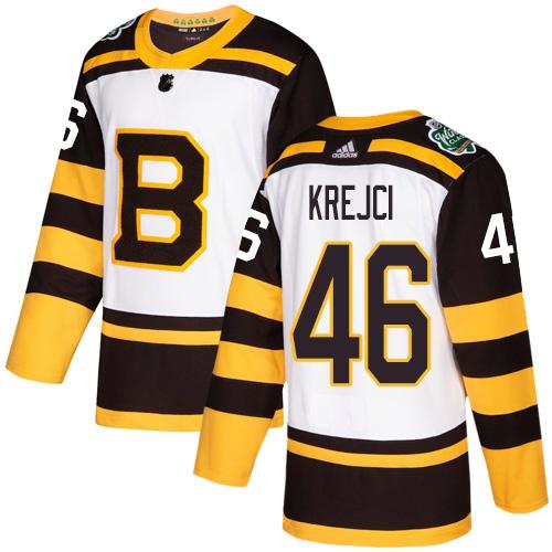 Adidas Bruins #46 David Krejci White Authentic 2019 Winter Classic Stitched NHL Jersey