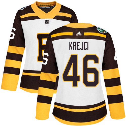 Adidas Bruins #46 David Krejci White Authentic 2019 Winter Classic Women's Stitched NHL Jersey