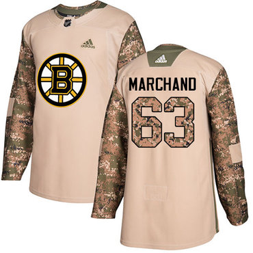 Adidas Bruins #63 Brad Marchand Camo Authentic 2017 Veterans Day Youth Stitched NHL Jersey