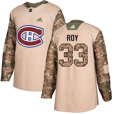 Adidas Canadiens #33 Patrick Roy Camo Authentic 2017 Veterans Day Stitched Youth NHL Jersey