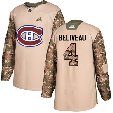 Adidas Canadiens #4 Jean Beliveau Camo Authentic 2017 Veterans Day Stitched Youth NHL Jersey