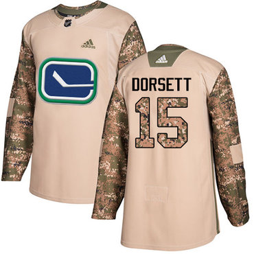 Adidas Canucks #15 Derek Dorsett Camo Authentic 2017 Veterans Day Youth Stitched NHL Jersey