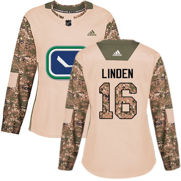 Adidas Canucks #16 Trevor Linden Camo Authentic 2017 Veterans Day Women's Stitched NHL Jersey