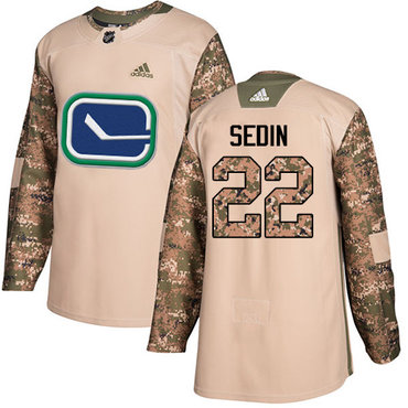 Adidas Canucks #22 Daniel Sedin Camo Authentic 2017 Veterans Day Youth Stitched NHL Jersey