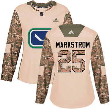 Adidas Canucks #25 Jacob Markstrom Camo Authentic 2017 Veterans Day Women's Stitched NHL Jersey
