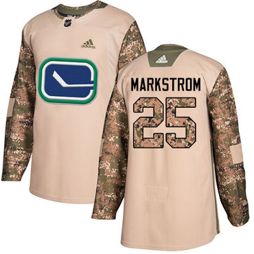 Adidas Canucks #25 Jacob Markstrom Camo Authentic 2017 Veterans Day Youth Stitched NHL Jersey