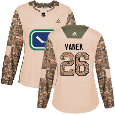 Adidas Canucks #26 Thomas Vanek Camo Authentic 2017 Veterans Day Women's Stitched NHL Jersey