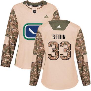 Adidas Canucks #33 Henrik Sedin Camo Authentic 2017 Veterans Day Women's Stitched NHL Jersey