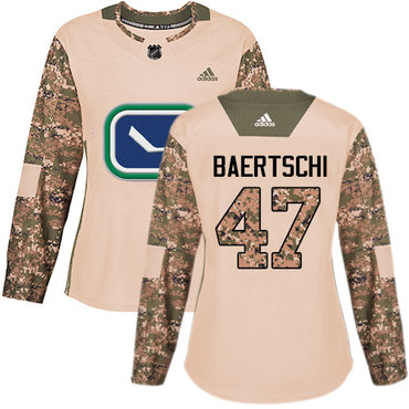 Adidas Canucks #47 Sven Baertschi Camo Authentic 2017 Veterans Day Women's Stitched NHL Jersey