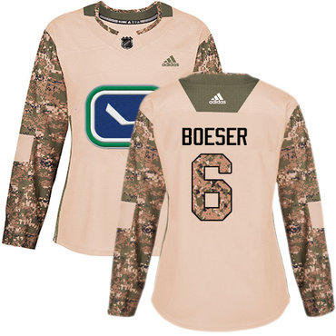 Adidas Canucks #6 Brock Boeser Camo Authentic 2017 Veterans Day Women's Stitched NHL Jersey
