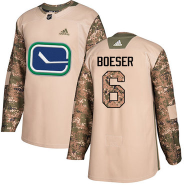 Adidas Canucks #6 Brock Boeser Camo Authentic 2017 Veterans Day Youth Stitched NHL Jersey