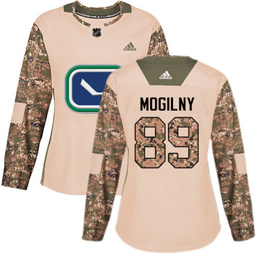 Adidas Canucks #89 Alexander Mogilny Camo Authentic 2017 Veterans Day Women's Stitched NHL Jersey