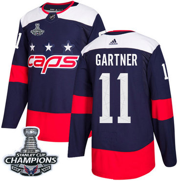 Adidas Capitals #11 Mike Gartner Navy Authentic 2018 Stadium Series Stanley Cup Final Champions Stitched NHL Jersey