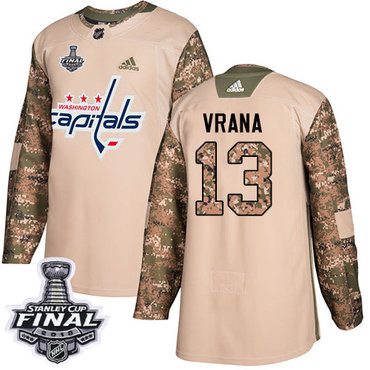 Adidas Capitals #13 Jakub Vrana Camo Authentic 2017 Veterans Day 2018 Stanley Cup Final Stitched NHL Jersey